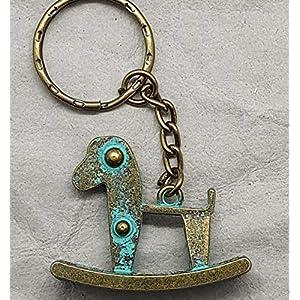 Charm Schlüsselanhänger Schaukelpferd Anhänger Karabiner vintage Schlüsselanhänger Kette Farbe: bronze retro