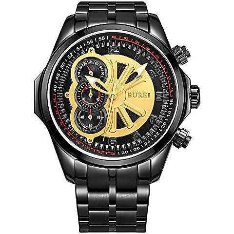 BUREI Hombres Reloj cronógrafo con esfera de oro negro pulsera de acero inoxidable
