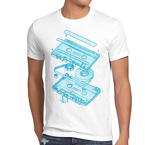 style3 DJ Tape Herren T-Shirt kassette 3D turntable retro, Größe:S;Farbe:Weiß