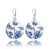 Handgefertigte Ohrringe in Blau und Weiß im Russischen Orientalisch-Stil