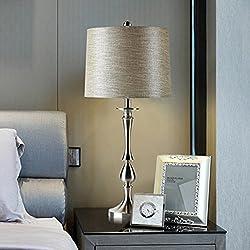 E27Acero Inoxidable pie moderna estilo completo creativos escritorio lámpara dormitorio salón lámpara de mesa