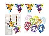Partydeko Set 5.Geburtstag Kindergeburtstag 9 teilig Mädchen Junge Girlande Luftballon