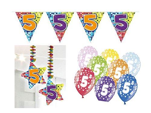 rtstag Kindergeburtstag 9 teilig Mädchen Junge Girlande Luftballon ()