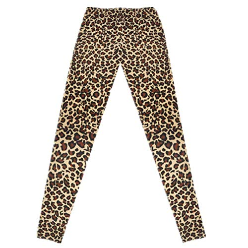 Lannister Fashion Señoras Medias Pantalones Leopardo Estiramiento Entrenamiento Elástico Moda Leggings Cintura Fitness Pantalones Deportivos (Color : Braun - Braun, Size : One Size)