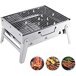 Overmont Holzkohlegrill BBQ Grill Klappgrill Tischgrill Picknickgrill Rostfreier Stahl für Garten Camping Party Barbecue 35 * 27 * 20cm