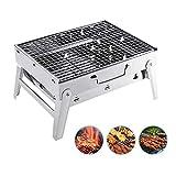 Overmont Holzkohlegrill BBQ Grill Klappgrill Tischgrill Picknickgrill Rostfreier Stahl für Garten Camping Party Barbecue 35 * 27 * 20cm