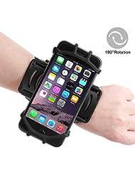 Skitic Universal Sportarmband Hülle für iPhone 8/7/7 Plus/6/6s/5, Samsung Galaxy S8/S8 Plus/S7/S7 Edge und andere Phones (3,5 bis 6,0 Zoll) mit 180°Drehbar Oberarmtasche Handyhülle für Joggen Laufen Wandern Radfahren - Schwarz