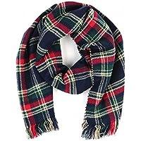 Tamaño grande de doble capa reversible diseño de tela escocesa bufanda Mantón ...