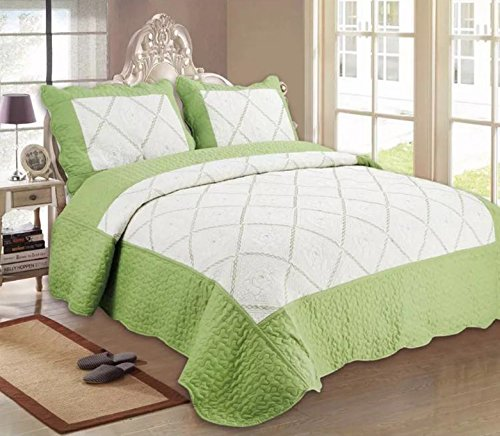 Green-bett Lime Tröster (New Super Luxus florales Vintage Baumwoll-Mischgewebe sharabi Top Qualität 3Stickerei Bettwäsche Bettwäsche Tröster Set Bett gesteppt Tagesdecke mit 2Kissenbezüge:, Lime Green White, 230cm X 250cm (Suitable for Double & King Bed))