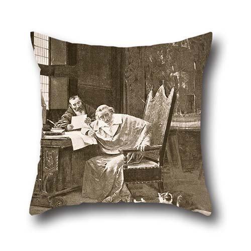 50,8x 50,8cm/Olio da 50x 50cm George Barrie-Richelieu e il suo gatto federa, Doppio lati è perfetto per bambini, Parenti, Lui, madre, adolescenti, Drawing Room