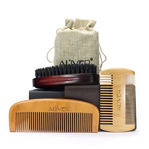 Set di spazzole e pettini da barba, da uomo, per rasatura e taglio kit,pettine di sandalo naturale e spazzola con setole di cinghiale (3 pezzi)