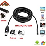HITSAN Endoscope Camera Stardot 5 5mm Lens 1m 2m 5m 10m Cable Waterproof Usb Endoscope Android Borescope Inspection For Windows Pc