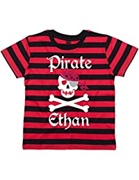 4-5 years RED & BLACK STRIPED PERSONALISED Children's T-Shirt 'PIRATE SKULL AND CROSS BONES' with White, Red & Silver Print