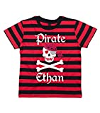 Search : 4-5 years RED & BLACK STRIPED PERSONALISED Children's T-Shirt 'PIRATE SKULL AND CROSS BONES' with White, Red & Silver Print