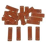 IPOTCH 20x Handmade Labels Etiketten Tags PU Leder Annäher Labels Hand Nähen Knopf DIY Basteln für Kleidung - Stil 6