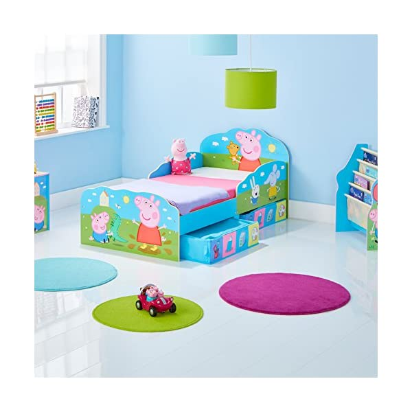HelloHome Peppa Pig Toddler Bed with Underbed Storage, Wood, Multi, 142 x 77 x 63 cm  Perfect for transitioning your little one from cot to first big bed The perfect size for toddlers, low to the ground with protective side guards to keep your little one safe and snug Two handy underbed, fabric storage drawers 4