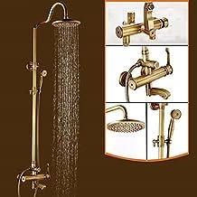Ohcde Dheark Antigüedades baño ducha baño ducha de pared Latón Grifo Ducha Columna de ducha con un asa