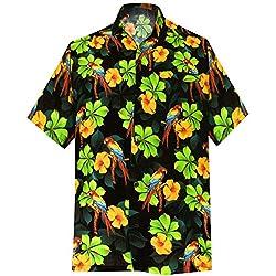 LA LEELA | Funky Camisa Hawaiana | Señores | Manga Corta | Bolsillo Delantero | Impresión De Hawaii | Playa | 3D HD | Loro | Hibisco Floral Flor Impreso Negro_W589 L - Pecho Contorno (in cms) : 111 -