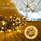 1000er LEDs Lichterkette 25M LED Weihnachtsbeleuchtung Innen und Außen Kupferdraht mit EU Stecker 8 Modi Wasserdicht für Weihnachten Garten Party Geburtstag Hochzeit Weihnachtsdekoration (Warmweiß)
