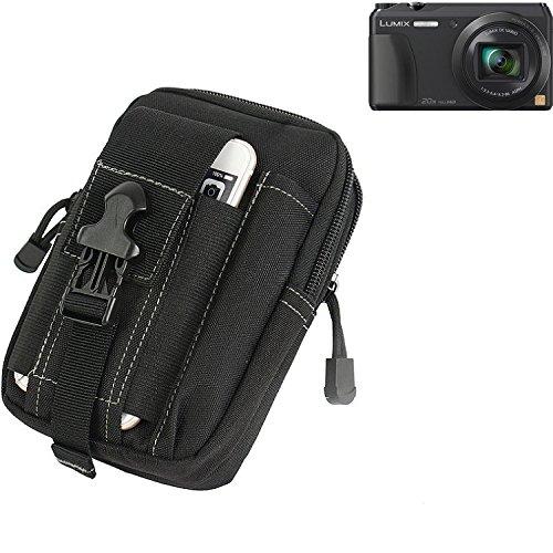 Für Panasonic Lumix DMC-TZ56 Gürteltasche schwarz Schutz Hülle Kameratasche Fototasche Case Bag für Panasonic Lumix DMC-TZ56 Extrafächer mit Platz für Filter, Speicherkarten,