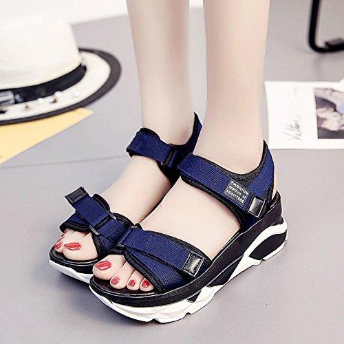 RUGAI-UE Con suole spesse sandali Donna Summer Beach scarpe Scarpe Casual Blue