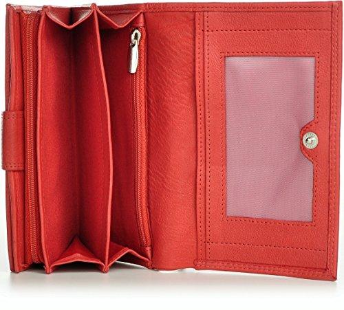 PHIL+SOPHIE, Cntmp, Donna, Portafoglio, Portamonete, Borsa, Formato orizzontale, In Vera Pelle, 15,5 x 9,5 x 3,5 cm rosso corallo