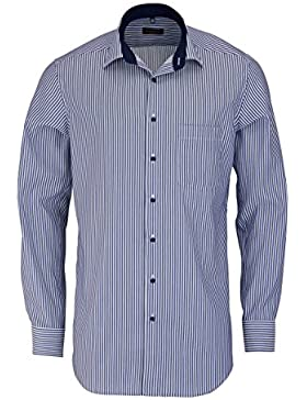 ETERNA Modern Fit Hemd super langer Arm Streifen dunkelblau AL 72