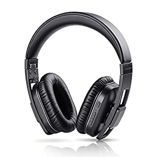 Sonyabecca Bluetooth Headphones with Microphone APT-X Hi-Fi Wireless Stereo Headphones Over Ear, Comfortable Protein Ear pads, 3.5mm Audio Connector with On-Ear Controls-Black