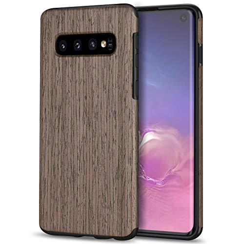 TENDLIN Cover Samsung Galaxy S10 Legno Ibrida Silicone TPU Flessibile Custodia per Samsung Galaxy S10 (Palissandro Nero)