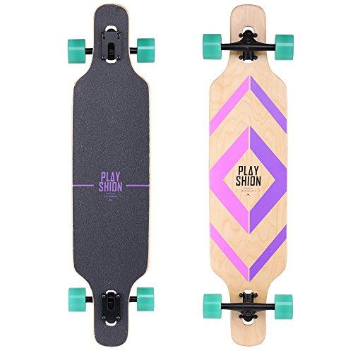 PLAYSHION Longboard 39 Zoll inkl. T-Tool, mit ABEC-9 Kugellagern, Drop-Through Freeride Skateboards Cruiser