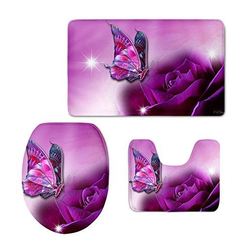 Coloranimal 3pezzi tappetino da bagno set preppy farfalla piedistallo tappeto + coperchio wc covers + tappetino da bagno set moderno butterfly-8