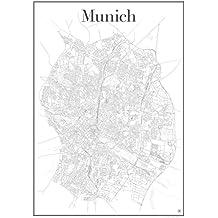 München Poster - Stadtplan Plakat Staßennetz (60 cm x 84 cm) Kunstdruck