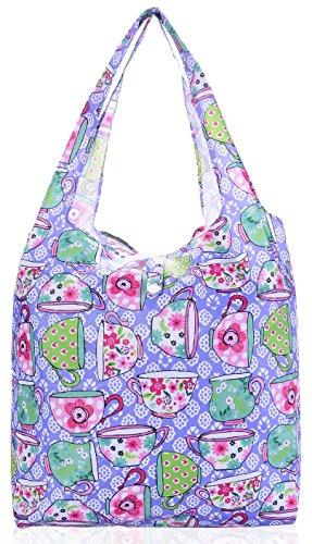 Big Handbag Shop riutilizzabili, Eco-Friendly, pieghevole e compatto, borsa per la spesa, Planet (Cup - Light Purple)