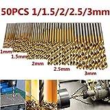 Gudelaa 50 Stück Spiralbohrer Set HSS Titanium Coated Schnellarbeitsstahl Mini Bohrer Micro Präzision 1/1,5/2 / 2,5 / 3mm für Holz, Kunststoff, Stahl und Aluminiumlegierung