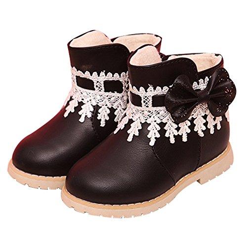Taiycyxgan Baby Mädchen Schnee Schuhe Mädchen Princes Spitze Blumen Schleife Stiefel Winter Warm Boot Schwarz Rot
