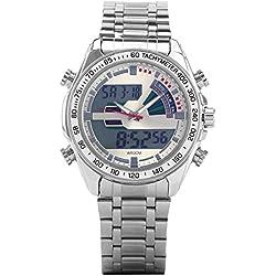 UNIQUEBELLA Digital Sport Alarm Wrist Watch, Stainless Steel Band Date and Day Men Wrist Analog-Digital Bracelet Watch