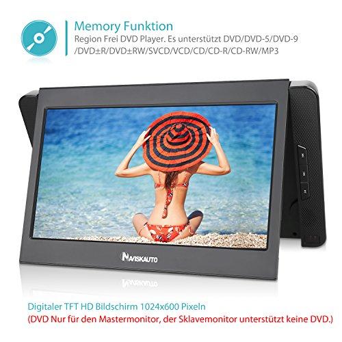 NAVISKAUTO 10,1 Zoll DVD Player Auto 2 Monitore Tragbarer DVD Player mit zusätzlichem Bildschirm 5 Stunden Akku Kopfstütze Monitor Fernseher Dual Bildschirm1014 - 4