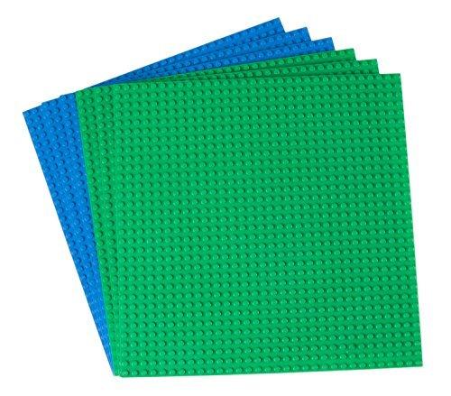 Strictly Briks Premium-Bauplatten - mit Allen großen Marken kompatibel - 6 Stück - 10 x 10 (25,4 x 25,4 cm) - Grün, Blau - Lego Grundplatten Großen
