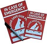 Pet Alert Sicherheit Rescue Notfall Aufkleber, Save our Pets Tür Fenster Schilder, Value Pack 2UV-beständig Reflektierende A5/A6Rescue Aufkleber + Bonus Marker Pen