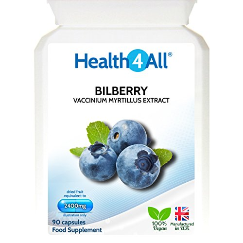 Health4All Bilberry Strong Extract 2400mg 90 Capsules (V) | Eyesight | Antioxidant | 100% Vegan | Free UK Delivery