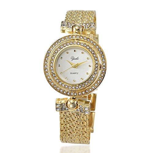 Yaki Luxus Gold Armbanduhr Damen Analog Quarz Uhren Armreifen Armkette Uhr Strass Charms mit Metallband