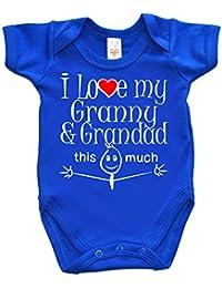 IiE, I Love my Granny & Grandad this much, Novelty Baby Boy Bodysuit