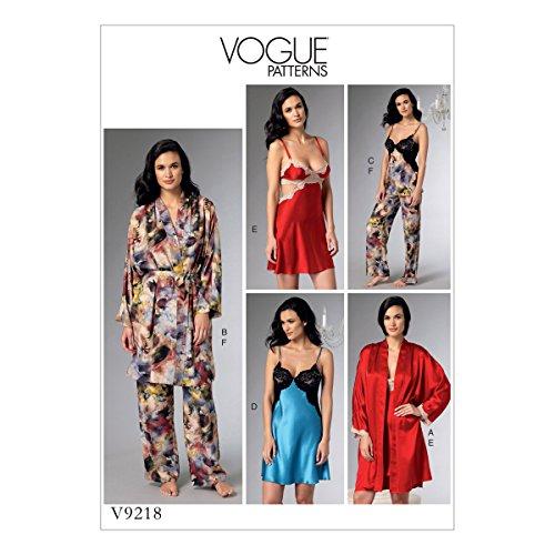 Vogue Mustern 9218E5Schnittmuster Bademantel/Gürtel/Mieder/Nachthemd und Hose, Tissue, Mehrfarbig, Größen 14-22 -