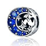 Abalorio De Mujer De Plata De Ley De 925 Estrella Lunar Charm Con Azul Zirconia Compatible Con Pulseras