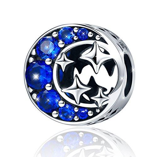 Gioielli Charms Bead da Donna Argent Sterling 925 Stella E Luna Ciondoli con Zirconia Cubica Blu per Bracciale