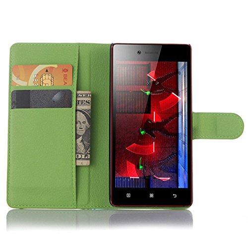 Tasche für Lenovo Vibe Shot Z90-7 Hülle, Ycloud PU Ledertasche Flip Cover Wallet Case Handyhülle mit Stand Function Credit Card Slots Bookstyle Purse Design grün