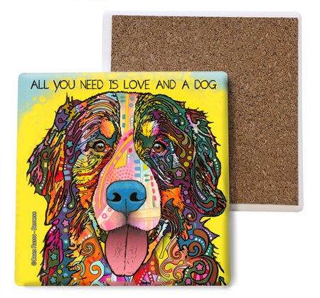 (sjt07003) Berner-All You Need is Love and a Dog saugfähig Stein Untersetzer, 4-Zoll (4er Pack) Features Das Artwork von Dean Russo