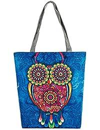 Elistelle Women's Canvas Tote Shoulder Handbag Owl Travel Shopping Satchel Folding Bags