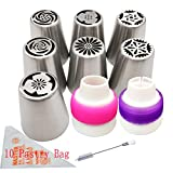 Fiore glassa guarnizioni ugelli decorazioni set di strumenti e borsa per cupcake 7 pz/set, Aixin tubazioni in acciaio INOX grande formato russo punte + 1 x Brush + 10 x pasticceria Disposible bag + 2 x accoppiatore siringa set ugello 7set-No.6