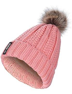 Pom Pom sombreros para mujer - AWAYTR Pom Poms gorro de invierno gorro gorro moda tejido color sólido